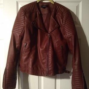 Red Vegan Leather Moto Jacket Forever 21